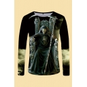 Mens 3D T-Shirt Casual Reaper Scythe Chair Pattern Slim Fitted Round Neck Long Sleeve T-Shirt