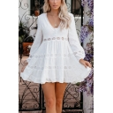 Cute Girls White Hollow Out Panel Long Sleeve Deep V-neck Button Detail Stringy Selvedge Short Pleated A-line Dress