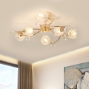 Faceted Crystal Floral Ceiling Fixture Modernism 6 Lights Gold Finish Semi-Flush Mount with Spiral Design