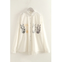 Cute Cat Embroidery Long Sleeve Point Collar Button Up Relaxed Fit Shirt Top for Girls