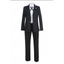 Trendy Long Sleeve Single Breasted Notched Collar Regular Blazer Point Collar Shirt Long Straight Pants Set in Black
