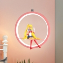 Round Down Mini Pendant Kids Style Metal LED Bedside Ceiling Hang Fixture in Pink/Blue with Cartoon Figure Deco