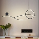Linear and Ring Ceiling Hang Fixture Modern Acrylic White/Black/Gold LED Chandelier Lighting in White/Warm Light