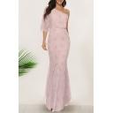 Boho Ladies Pink Allover Floral Printed Single Sleeve Oblique Shoulder Maxi Fishtail Dress