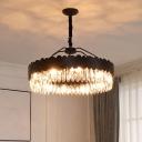 Modern Circle Hanging Light 8 Lights Cut Fluted Crystal Chandelier Pendant in Black