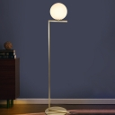 White Frosted Glass Ball Floor Light Minimalist 1 Light Standing Floor Lamp in Gold with Right Angle Arm