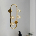 Brass Oblong Wall Light Postmodern Crystal Ball 4-Head Living Room Wall Mounted Lamp