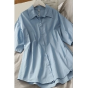 Simple Girls Solid Color Button Up Turmn Down Collar Half Sleeve Plus Sized Tunic Shirt