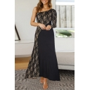 Formal Womens Patchwork Lace One Shoulder Single Sleeve Long Flare Gown Evening Dress in Black