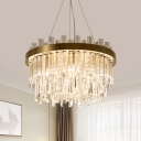 Clear Crystal Glass Dual-Layered Chandelier Modern 6 Bulbs Clear Hanging Ceiling Light for Drawing Room