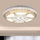 Clear Blossom Flush Ceiling Light Contemporary Hand-Cut Crystal LED Ceiling Flush Mount for Living Room