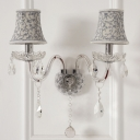 Flared Fabric Shade Sconce Light Traditional 1/2 Heads Doorway Wall Lighting with Clear Crystal Decoration