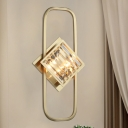 Gold Square Wall Mount Lamp Contemporary Fluted Glass 2-Head Sconce Light Fixture with Rectangle Frame
