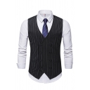 Mens Trendy Classic Stripes Printed Single Breasted Slim Fit Business Suit Vest