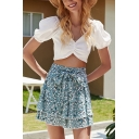 Summer Ditsy Floral Pattern Bow Tie Waist Bi-layered Mini Pleated A-line Skirt in Blue
