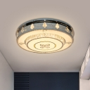 Integrated LED Round Flush Light Modern Stainless Steel Crystal Encrusted Ceiling Lighting, 23.5