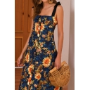 Amazing Womens All over Flower Printed Tied Shoulder Button down Mid A-line Slip Sundress