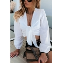 Womens White Fashionable Long Sleeve V-neck Tied Front Regular Fit Crop Blouse