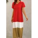 Holiday Womens Colorblock Short Sleeve V-neck Long A-line T Shirt Dress
