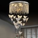 Clear Crystal Fringe Flush Light Contemporary Bedroom 19.5