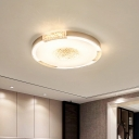 Black/Gold Round Flush Mount Lamp Contemporary Crystal LED Ceiling Mounted Fixture in Warm/White Light