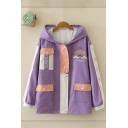 Trendy Letter Rainbow Souad Rainbow Emboridered Flap Pockets Contrasted Long Sleeve Hooded Zipper Front Loose Fit Jacket