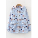 Preppy Girls Allover Mixed Cartoon Printed Long Sleeve Zipper Front Patched Pockets Relaxed Jacket