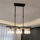 3/4 Heads Cylinder Island Light Fixture Traditional Black Clear Crystal Ceiling Suspension Lamp
