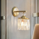 Gold Drum Sconce Light Modern Style 1-Head Clear Crystal Glass Wall Mounted Light Fixture for Doorway