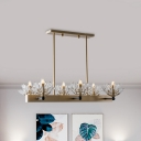 Clear Crystal Icicle-Shape Island Lamp Contemporary 6 Heads Black and Gold Pendant Light