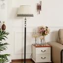 Barrel Shade Floor Lighting Modernism Pleated Fabric 1 Light Black Floor Lamp with Crystal Orbs Stand