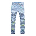 Mens Hip Hop Style Spray Printed Stretch Fit Light Blue Ripped Jeans