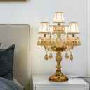 Fabric Bell-Shade Night Lamp Rural Style 5/6/7 Heads Bedside Nightstand Light with Crystal Droplet in Gold