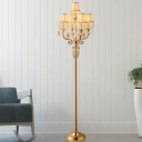 5-Light Fabric Standing Light Traditional Gold Paneled Bell Bedroom Floor Lighting with Crystal Droplet