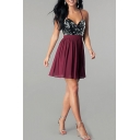 Party Womens Sequins Decoration Panel Crisscross Back Short Pleated Flared Cami Dress