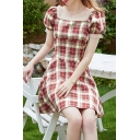 Stylish Plaid Printed Puff Sleeve Square Neck Mesh Stringy Selvedge Short A-line Dress in Red