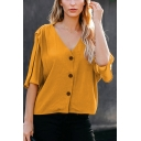Casual Plain Pleated Button Up V Neck Half Sleeve Relaxed Fit Crop Blouse Top for Womens