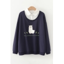 Fancy Japanese Letter Sheep Graphic Long Sleeve Polo Collar Patchwork Relaxed Pullover Sweatshirt for Girls