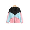Fashion Womens Colorblock Long Sleeve Drawstring Hooded Loose Jacket in Black