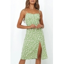 Gorgeous Ladies Ditsy Floral Printed Tied Shoulder Slit Mid A-line Cami Dress in Green
