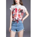 Chinese Girls Short Sleeve Spread Collar Button up Tied Hem Regular Fit Shirt in Red
