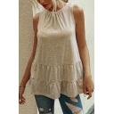 Simple Womens Solid Color Pleated Ruffle Trim Tiered Strap Sleeveless Loose Fit Tunic Smock Tank Top