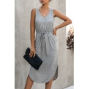 Simple Style Solid Color Pockets Side Drawstring Pleated V Neck Sleeveless Midi A-line Dress for Ladies