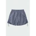 Casual Womens Solid Color Elastic Waist Drawstring Sides Relaxed Fit Shorts
