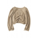 Vintage Plain Pleated Beading Embellished Long Puff Sleeve Sweetheart Neck Slim Fit Crop Shirt for Women