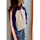 Fashionable Striped Color Block Tape Half-Zip Stand Collar Full Sleeve Loose Fit Crop Pullover Sweatshirt for Women