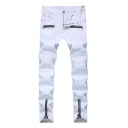Guys Cool Street Fashion Multi Zip Embellished Pleated Stretch Slim Jeans