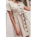 Popular Womens Solid Color Belted Single Breasted V Neck Short Sleeve Mini A-Line Dress