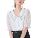 Popular Womens Sheer Mesh Patchwork Button Front Striped Turn-down Collar Puff Sleeve Regular Fit Shirt in White