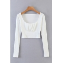 Chic Womens Knit Long Sleeve Scoop Neck Ruched Regular Fit Crop T Shirt in White